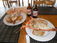 Two lobsters from the Fireman's Lobster in Negril, Jamaica