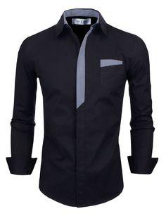 Tom's Ware Mens Classic Slim Fit Plaid Inner Contrast Longsleeve Shirt TWNMS310S-CMS05-BLACK-US S