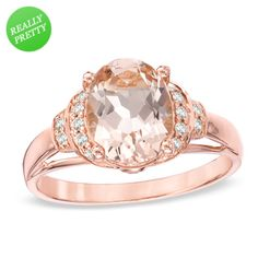 I've tagged a product on Zales: Oval Morganite and 1/10 CT. T.W. Diamond Ring in 10K Rose Gold