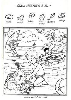Gizli nesneyi bulma etkinliği 7 Educational Activities, Preschool Activities, Coloring Pages For Kids, Coloring Books, Hidden Pictures Printables, Hidden Picture Puzzles, French Lessons, Spanish Lessons, Teaching Spanish