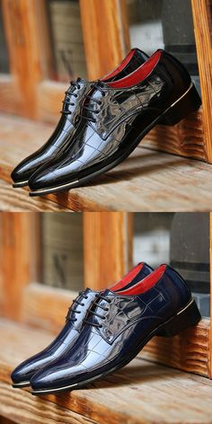 Details about  /Mens Large Size Fashion Leather Shoes Shiny Pointy Toe Nightclub Party Lace up