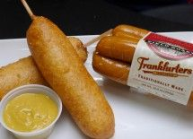 Most foods are better on a stick. Corn dogs are one of life's guilty pleasures. Nestled atop a stick, the Field Roast Frankfurter wrapped in a sweet, cornmeal and fried to golden perfection will cause a rush of county fair and childhood memories.