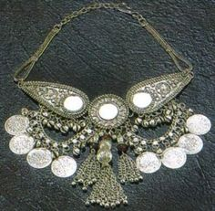 White Metal Necklace with Old Coins. Tribal Fusion Belly Dance