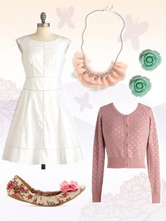 bridal look from modcloth - perfect for an elopement or courthouse wedding