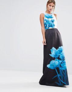 Ted Baker Narisa Maxi Column Dress in Blue Beauty Print