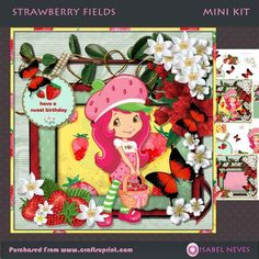 Strawberry Fields by Isabel Neves Strawberry Fields Mini Kit Includes: Card Front, Mini Print & Fold Card, Card Insert, Decoupage, Several Sentiment Tags, Gift/Bag Tags, Preview. **Sentiment Tags Read: Have A Sweet Birthday, Have A Sweet Day, Happy Birthday and Blank.  ** 4 Sheets ~ Approx 7.5 x 7.5