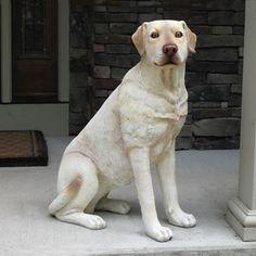 "Life Size Sitting Labrador Dog 32""H $199.00 Size: L27"" W15"" H32""  Weight 14 lbs. http://www.saintfrancisgarden.com/c101/Life-Size-Sitting-Labrador-Dog-32H-p294.html#"