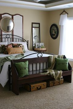 Bench at foot of bed, vintage suitcases-Mamie Jane's: Master Bedroom Reveal
