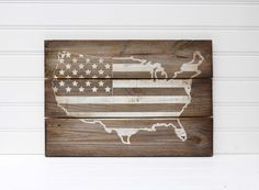 Us Map American Flag Rustic Wooden Sign Made From Reclaimed Pallet Wood