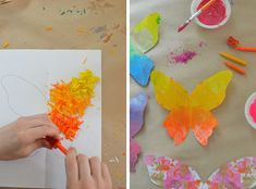 Children melt crayons to make these colorful butterflies.