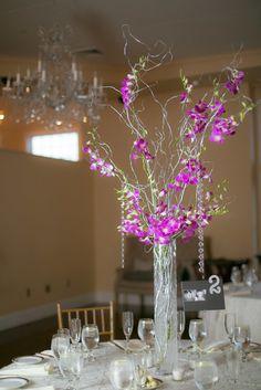 Cruiseport Gloucester Wedding, tall wedding flower centerpiece, purple orchids.  Rachel Girouard Photography