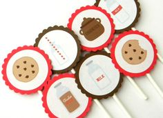 Red Milk n Cookies Cupcake Toppers by thepartypenguin on Etsy, $9.80