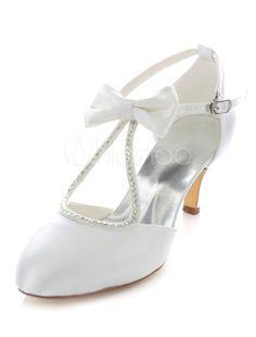 088b8448d616 Bow sandales de mariée bretelles blanc Satin mariage talons pour femmes.  Cheap pumps women shoes ...