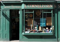 L.Cornelissen & Son: Great Russell Street. The most gorgeous shop, inside and out, a visual treat, and the people that work there are so friendly and helpful. It was founded by Louis Dieudonné Cornelissen in 1855.