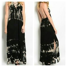 Black & Tan Tie Dye Maxi Dress Soft & flowy V Neck halter ties behind neck. Low open back features a Drawstring for a personalized fit and added detail. Slits on both sides. Hem features longer sides. NWT.   No trade or PP  Offers Considered  Bundle discounts . Dresses Maxi