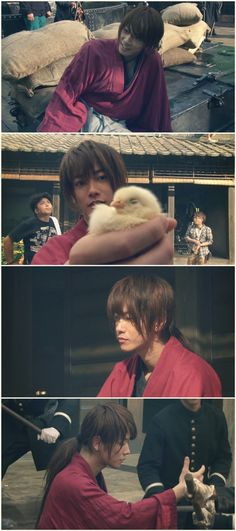 Making of Rurouni Kenshin live action. Takeru Satoh as Kenshin Himura, with crew. Pictures are not mine.