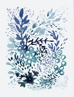 Archival print of my original watercolor painting, Flourish in Blue. Please note that this listing is for unframed print only.  Printed on slightly