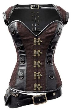 Perfect for anyone looking for a corset to help put together their very own steampunk outfit. This is a set that includes not only a cool looking corset, but also a belt and a shrug style jacket that also laces up the back like the corset - I so want this!!