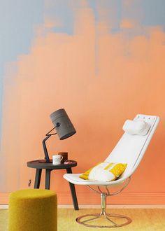 Nouvelle tendance couleur: Orange is the new black - Jouer sur les couleurs avec la tendance du « Ombre Wall » - Marie Claire Maison