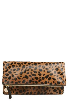 Clare V. Genuine Calf Hair Leopard Print Foldover Clutch available at #Nordstrom