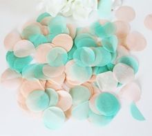 Mint Green Peach Wedding Tissue Paper Circle Confetti guests favors balloons confettis Party Decoration(China (Mainland))