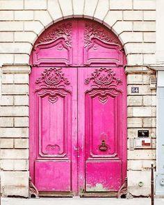 Neon Pink Door Paris France - Home Decor Art Photography Print Magenta Brick White French Trav - May 25 2019 at Grand Entrance, Entrance Doors, Doorway, Barn Doors, Sliding Doors, Magenta, The Doors, Windows And Doors, Panel Doors