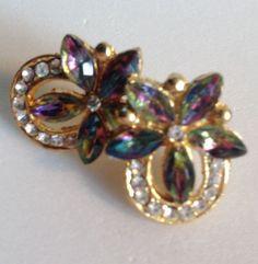 Horseshoe & Flowers Earrings Clear & Aurora Borealis Rhinestones Pierced Stud #Unbranded #Stud