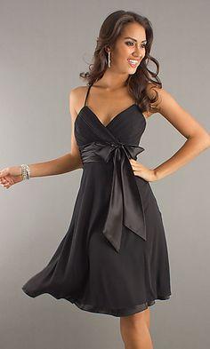 simplydresses.com  KNEE LENGTH SHIRRED SATIN BOW DRESS