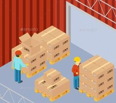 Warehouse With Cardboard Boxes On Pallets - Miscellaneous Conceptual