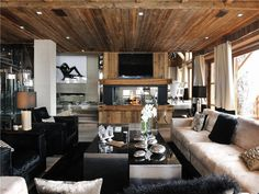Megeve, Rhone-Alpes, France – Luxury Home For Sales Home, Modern Rustic Living Room, Megeve, Sale House, House Rooms, Luxury Homes, Living Room Ceiling, Interior Design, Country Living Room