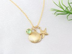 Gold Starfish Necklace, Gold Seashell Necklace With your Birthstone, Bridesmaid…