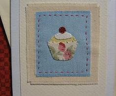 Handstitched card designed/made by Helen Drewett LITTLE CUPCAKE more in my shop | eBay