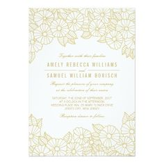 Romantic Gold Flowers on White Wedding Invitation Card