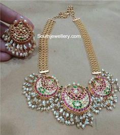 Kundan Pearl Necklace and Chandbalis
