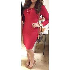 Calvin Klein red lace up dress This dress is one of my absolute favorites because it is hot but elegant at the same time! Fits very nicely but not too tight! Only worn one time & in excellent condition! Calvin Klein Dresses Midi