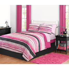 Dotted Stripe Bed in a Bag Bedding Set