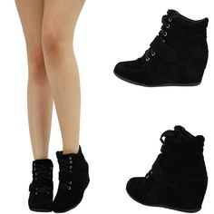 BLACK LACE UP VELCRO HIGH TOP MED HEEL HIDDEN WEDGE ANKLE BOOTIE SNEAKER PUMP US #Styluxe #FashionSneakers