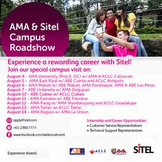 Mark these dates AMAers! Join Sitel 's Roadshow @AMA for hiring OJT's and possible employment of AMAES recent graduates on the following schedule: August 4 - AMA University (Proj.8, QC) w/ AMA & ACLC Caloocan August 5 - AMA East Rizal w/ ABE Cainta and ACLC Antipolo August 6 - AMA Makati w/ ABE Makati, AMA Parañaque, AMA & ABE Las Pinas August 7 - ABE Urdaneta w/ AMA Dagupan August 10 - ABE Cubao w/ ACLC Cubao August 11 - AMA Fairview w/ ABE Fairview August 12 - AMA Pasig w/ AMA Mandaluyong…