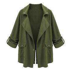 Army Green Tab Sleeve Loose Jacket (€24) ❤ liked on Polyvore featuring outerwear, jackets, tops, coats, green, loose jacket, patch jacket, sleeve jacket and green jacket
