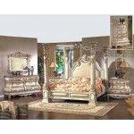 McFerran Home Furnishings - Monaco 4 Piece Bedroom King Bed Set in Antique White - B9087-EK-4SET