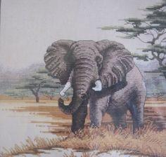 "Elephant Counted Cross Stitch Kit #112-74 10""x10"" Vintage 1992 New Rare"