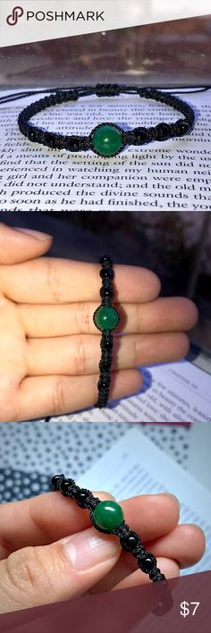 •Dark Aventurine Stone Black Beaded Bracelet• Bundle for 10% off + FREE Bracelet  •Material: Very thin (0.5 mm wide) black string in square-knot macrame style featuring a dark green aventurine stone + black beads.  •ⓢⓘⓩⓔ: Adjustable knot! (Fits 7 in. & opens to 11.5 in. wrist)  •Meaning:  Green Aventurine is a stone that brings optimism and a zest for life, allowing one to move forward with confidence and to embrace change…