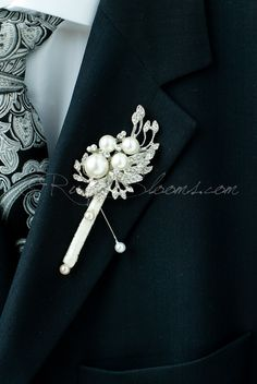 #Crystal Pearl Art Deco Wedding #Brooch #Boutonniere. Pearl Groom Broach #Boutonni,  View more on the LINK: 	http://www.zeppy.io/product/gb/3/236887388/