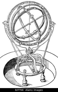 astronomy, instruments, armillary sphere, Armillae zodiacalis after Tycho Brahe, woodcut, circa 1570, spherical astrolabe, armil