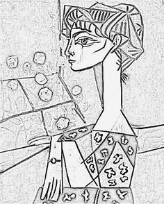 100% free coloring page of Pablo Picasso painting - Girl Before a ...