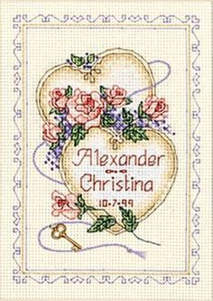 United Hearts Wedding Record Mini Counted Cross Stitch Kit