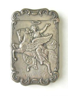 Antique Sterling Silver Match Safe Vesta Case Libertas Riding Winged Horse