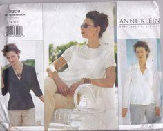 Vogue Anne Klein Sewing Pattern 2308 Blouse Top Plus Size 18 20 22 Uncut FF 1999 #Vogue #anneklein #plussize