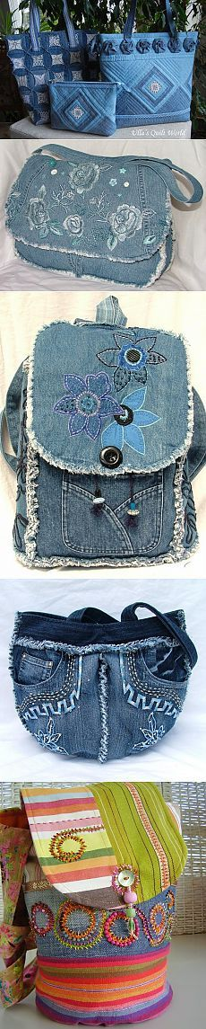 Pretty bags made of jeans Patchwork Bags, Quilted Bag, Jean Purses, Purses And Bags, Old Jeans Recycle, Diy Sac, Denim Purse, Denim Ideas, Denim Crafts