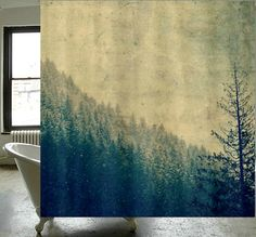 Fabric Shower Curtain - Original Photography by RDelean Designs - mountains, snow, forest, woodlands, PNW, on Etsy, $60.00